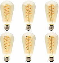 6 Pack Dimmbare LED E27 4W ST64 Spiral Filament