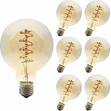 6 Pack E27 Edison Vintage LED Dimmbar Spiral