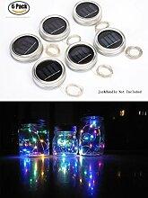 6 Pack Solar Einmachglas Lighterkette, 10 LED