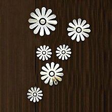 6 pcs 3D Blumen Spiegel Wand Aufkleber Nette Dekoration Aufkleber Dekor DIY