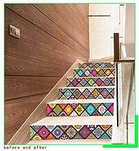 6 PCS Floral Tile selbstklebende Treppe Aufkleber