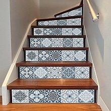 6 pcs/Set DIY kreative Retro Druck Muster Treppe Aufkleber