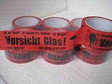 6 Rollen Klebeband Vorsicht Glas 66lfm lang 48 mm