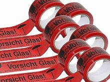 6 Rollen Vorsicht Glas Packband