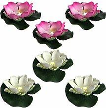 6 schwimmende Lotusblumen Teichblume Stimmungslicht Garten Pool Teich wasserdicht Batterie Ø10cm
