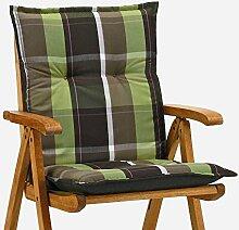 6 Sessel Auflagen 8 cm dick 103 cm lang in braun gruen Miami 90511-600 (ohne Stuhl)