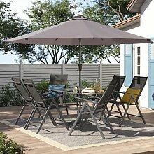 6-Sitzer Gartengarnitur Amherst mit Sonnenschirm