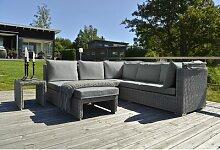 6-Sitzer Lounge-Set aus Polyrattan mit Polster