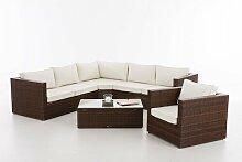 6-Sitzer Lounge Set Shippy aus Polyrattan mit