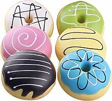 6 Stk 10cm Cartoon Donut Key Chain Mobile Telefon Geldbörse Schultasche Hängende Armband Anhänger Dekoration Ornament mit Hängenden Riemen