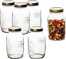 6 Stk. Quattro Stagioni 1,50 Liter Einmachglas