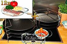 6 Stk. rundes Pizzablech mit gelochtem Boden + 2x 4 stufiger Edelstahl-Pizzablechhalter, TRADITIONELL, ca. 33 cm x 1 mm & 12 mal Hochwertiges, dickes ca. 16 mm Buche-Grill-Holzbrett natur mit Metallhenkel, Maße rund ca. 25 cm Durchmesser als Bruschetta-Servierbrett, Brotzeitbretter, Steakteller schinkenbrett rustikal, Schinkenteller von BTV, Brotzeitteller Bayern, Wildbrett, Wildbret,