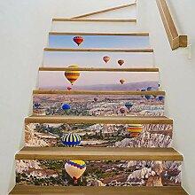 6 Stück 3D Treppen Aufkleber, Boden Aufkleber,