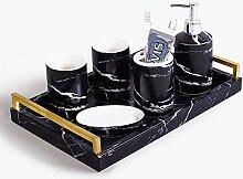 6 Stück Badzubehör Set Marmor Keramik Textur