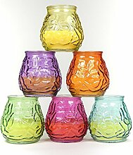 6 Stück Citronella Kerze in bauchigem Glas