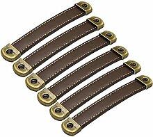 6 Stück Handgefertigte Leder Türgriff Pull