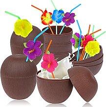 6 Stück Kunststoff Kokosnuss-Becher für
