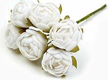 6 Stück/Los Seidensamt Mini Rose Künstliche
