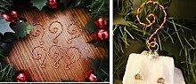 6Stück Metall starker Gold und Rot Weihnachten Candy Cane Ornament Vintage Style Baum Kleiderbügel Haken