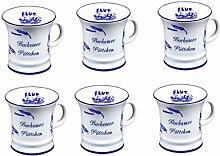 6 Stück- mini - Porzellan- Tasse, Kaffeepott, Becher- Borkum -deutsches Produktdesign