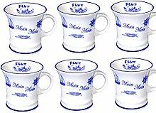 6 Stück- mini - Porzellan- Tasse, Kaffeepott, Becher- Moin Moin -deutsches Produktdesign