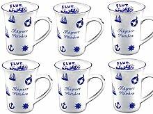 6 Stück- mini - Porzellan- Tasse, Kaffeepott, Becher- Rügen -deutsches Produktdesign