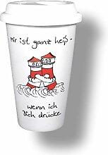 6 Stück- Porzellan- Coffee to Go mit Deckel - Leuchtturm- Mir ist ganz heiß!- deutsches Produktdesign- der Umwelt zuliebe!