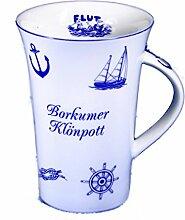 6 Stück- Porzellan- Kaffeepott, Tasse kardanisch- Borkumer Klönpott- eigener Text ab 36 St. möglich