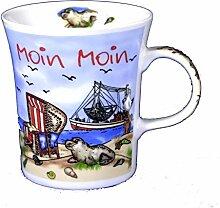 6 Stück- Porzellan- Tasse, Kaffeepott, Becher konisch- Moin Moin maritim- deutsches Produktdesign