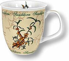 6 Stück- Porzellan- Tasse, Kaffeepott, Becher, maritim - Sanddorn - deutsches Produktdesign