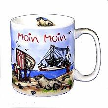 6 Stück- Porzellan- Tasse, Kaffeepott, Becher- Moin Moin maritim- deutsches Produktdesign