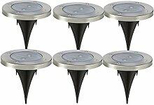 6 Stück Solarleuchten LED Strahler Bodenleuchten Solar mit Warmweiß Licht und 2LED Wasserfeste Bodenbeleuchtung Außen für Garten, Terasse von NORDSD