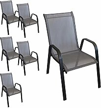 6 Stück Stapelstuhl Stapelsessel Gartenstuhl Gartensessel stapelbar Stahlgestell pulverbeschichtet mit Textilenbespannung Balkonmöbel Gartenmöbel Terrassenmöbel Schwarz / Anthrazi