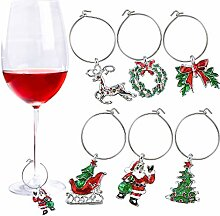 6 Stück Weihnachts-Glas-Charms Motto Party
