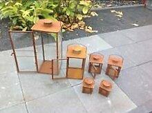 6 Stück Windlicht Gartenstecker Beetstecker Glaskugel Edelrost Gartendeko Metall Eisen Deko Ros