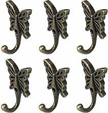 6 Stück Zink Legierung Schmetterling Haken