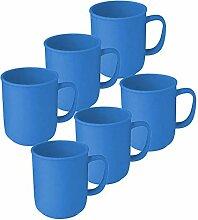 6 Tassen mit Henkel à 300 ml Blau aus Kunststoff