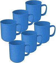 6 Tassen mit Henkel à 300 ml Blau,