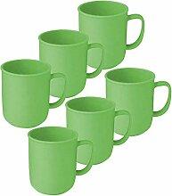 6 Tassen mit Henkel à 300 ml Grün aus Kunststoff