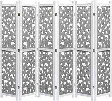 6-teiliger Raumteiler Grau 210 x 165 cm Massivholz