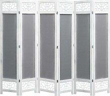 6-teiliger Raumteiler Grau 210 x 165 cm Stoff
