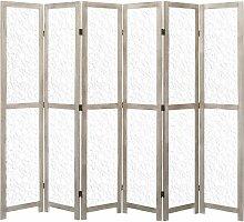 6-teiliger Raumteiler Weiß 210 x 165 cm