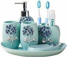 6-teiliges Badezimmer- und Waschbecken-Zubehörset