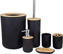 6-teiliges Bambus-Badezimmerzubehörset