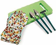 6-teiliges Gartenset - Knieschoner, Handschuhen, Rechen und 2 Schaufeln