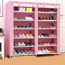 6 Tiers tragbare Schuhschrank Schrank mit Stoffbezug Schuh Speicherorganisator Kabine