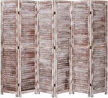 6-tlg. Raumteiler Braun 210x165 cm Holz 24755 -