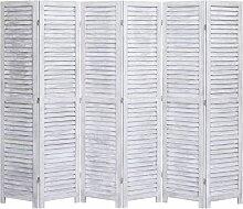 6-tlg. Raumteiler Grau 210×165 cm Holz