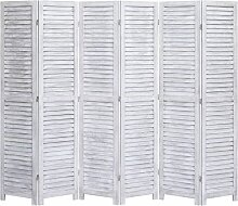 6-tlg. Raumteiler Grau 210x165 cm Holz 24747 -