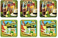 6 tlg Set Untersetzer - 9 x 9 cm - Cuba Libra u.